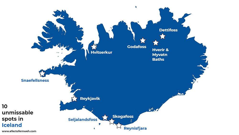 Map top 10 spots in Iceland