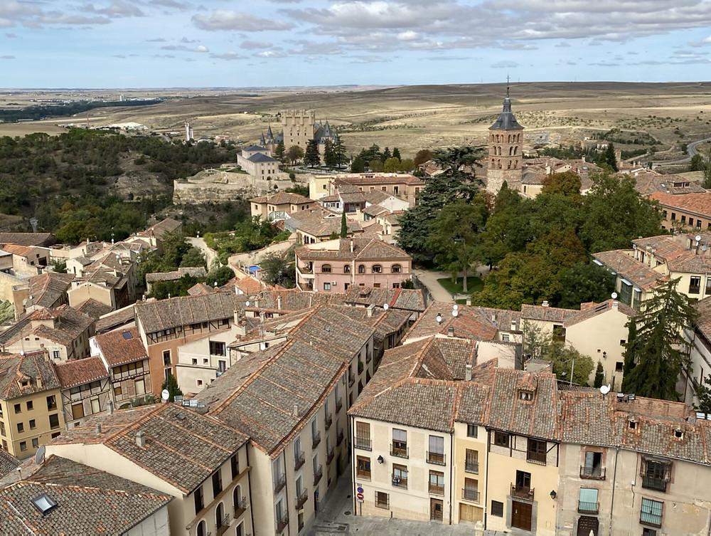 Vista panorámica desde la torre campanario de la catedral de Segovia