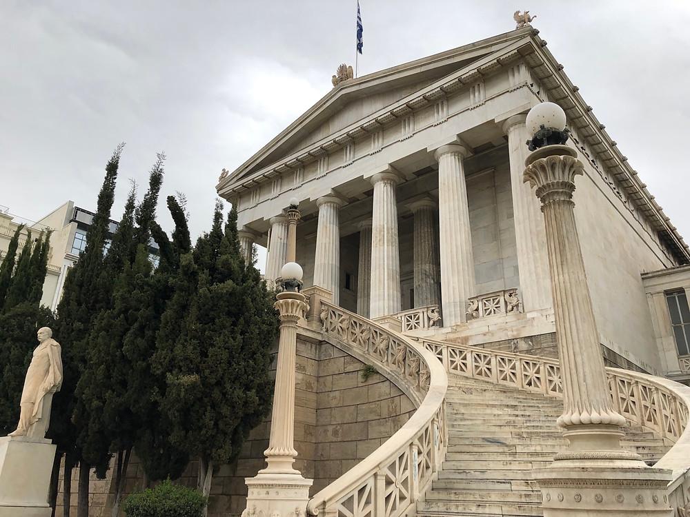 Fachada de la biblioteca Nacional de Atenas