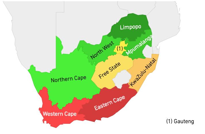 Regiones más peligrosas de Sudáfrica