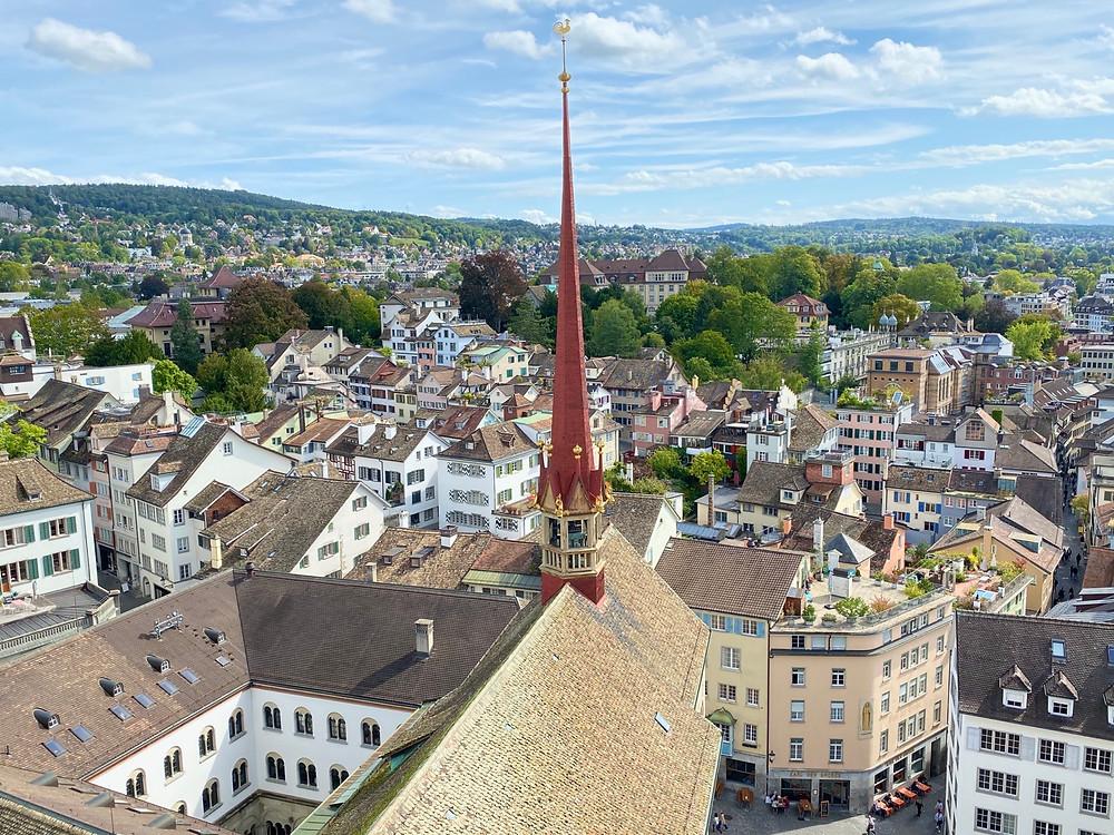 Vistas desde la catedral de Zurich