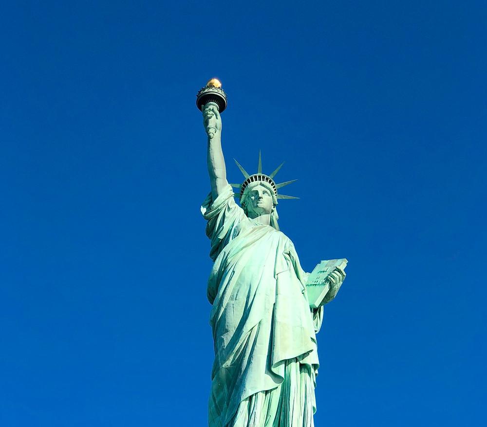 Primer plano de la Estatua de la Libertad