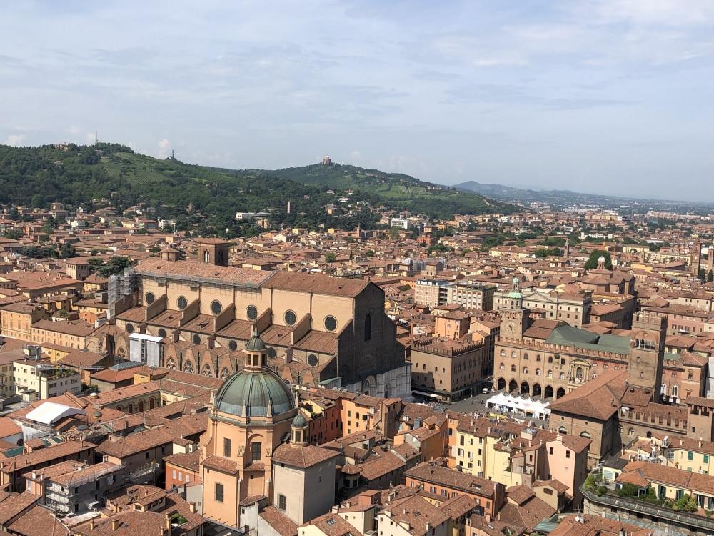 Vista de la Piazza Maggiore desde la Torre Asinelli