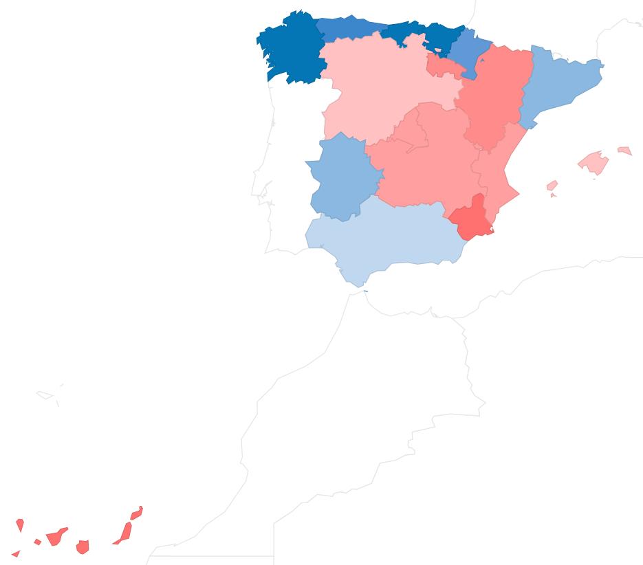 Mapas Comunidades Autónomas por cantidad de lluvia