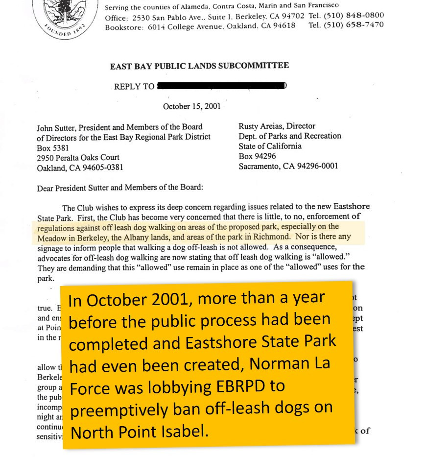 La Force asked to ban off-leash dogs a year before the state park had even been created