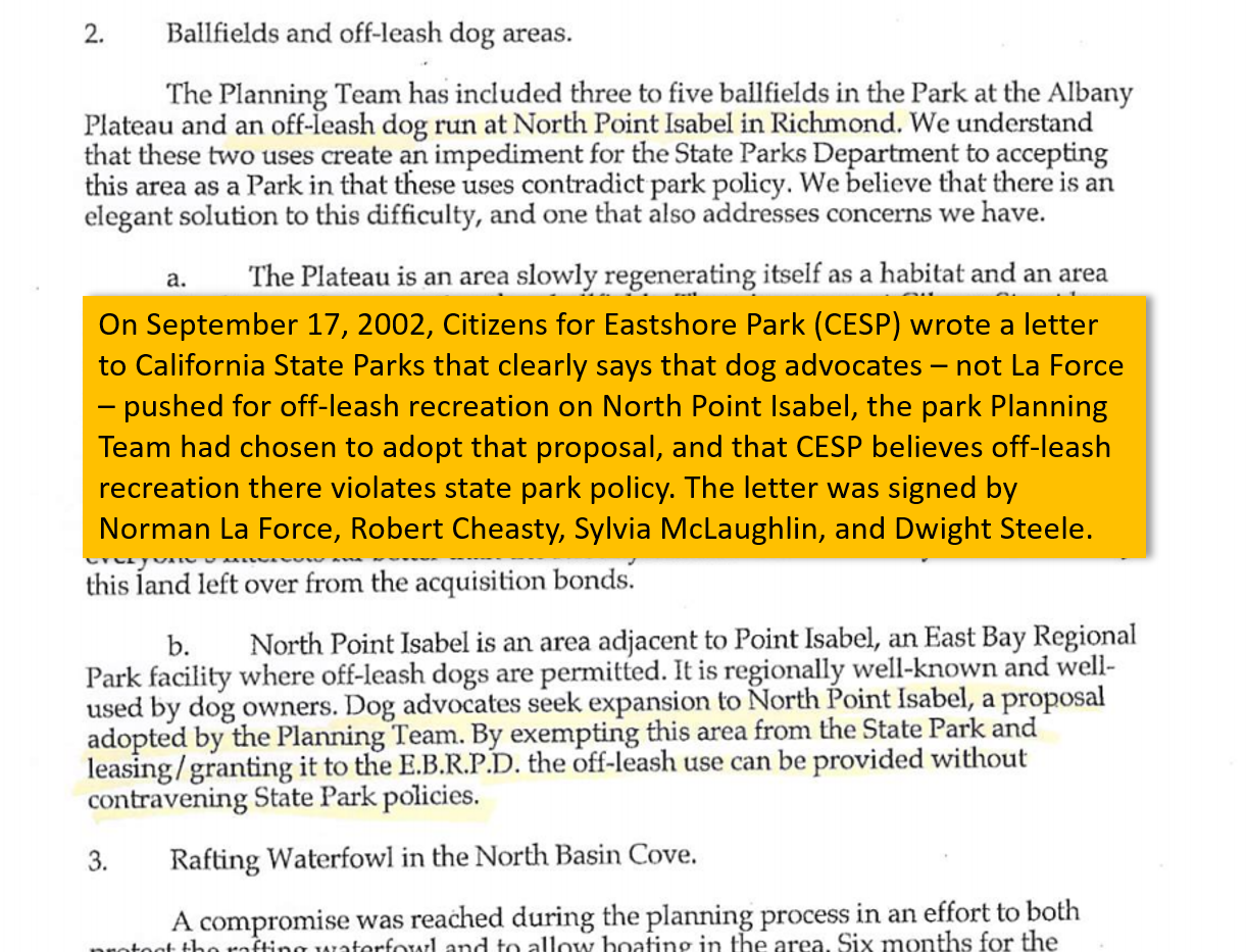 CESP letter to CA State Parks, September 17, 2002, putting onus on park planners for allowing off-leash recreation on North Point Isabel. Signed by La Force, McLaughlin, Cheasty, and Feinstein.