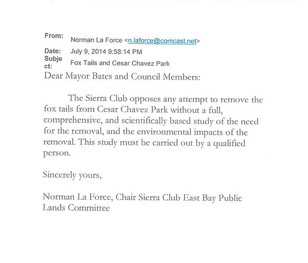 NLF email to Berkeley re mowing in CCP,