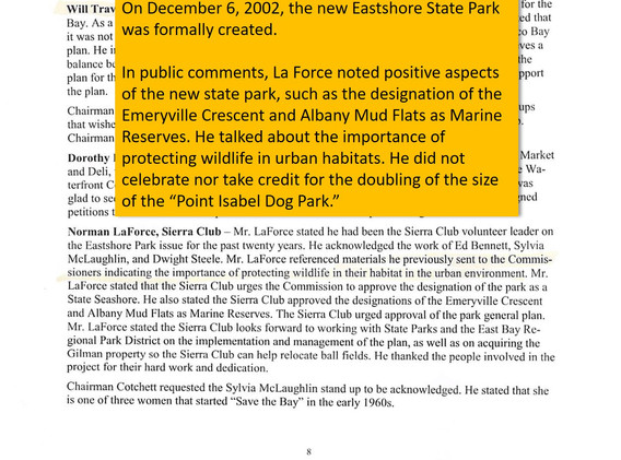 "When ESP was established, La Force neglected to brag about having doubled ""the Point Isabel Dog Park"""
