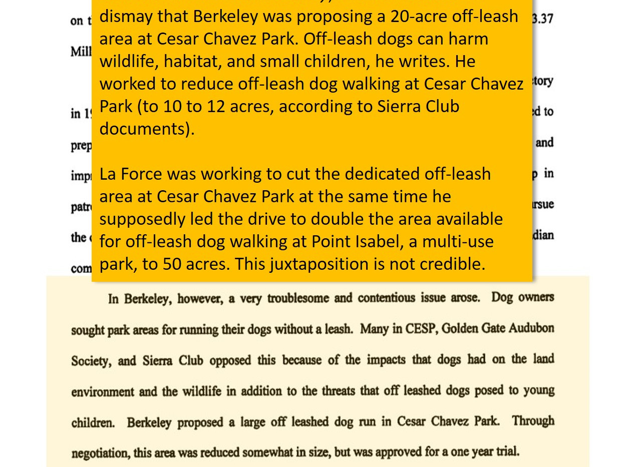 La Force's 2001 book shows his bias against off-leash areas