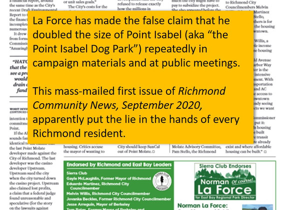 La Force has been telling this fib at endorsement meetings, in print, and online