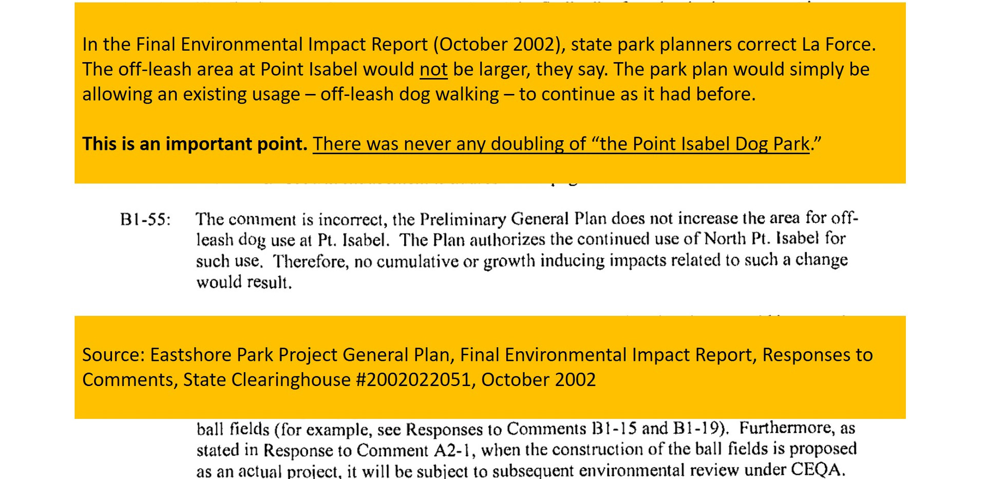 The park planning team issued a sharp correction
