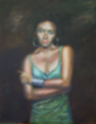 painting, art gallery, Port Douglas, artisan gallery,paintings online,the green dress oil on canvas