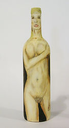 hand painted,decorated bottle,artisan,nude