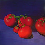 food art original oil on canvas Hot Tomatoes by Michael Edwards