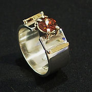 hand made golad and silver ring set with honey zircon