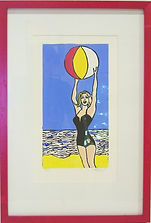 pop art lino cut beach girl with beach ball