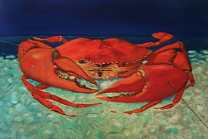 food art original oil on canvas mudcrab on ice by Michael Edwards
