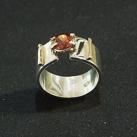 hand made gold and silver ring with honey zircon