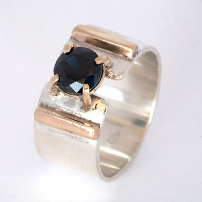 'Art Deco' hand made sterling silver and gold sapphire ring