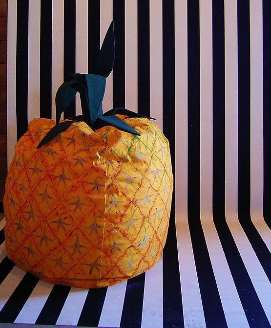 hand painted pineapple  art bean bag