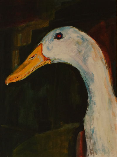 Acrylic painting on canvas 'Peaking Duck'