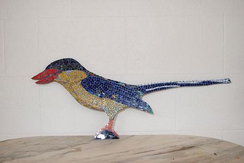 Paradise kingfiser mosaic art
