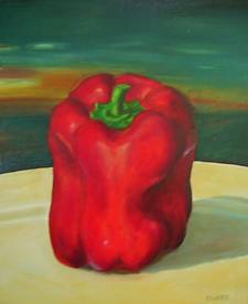 food art original oil on canvas Red Pepper