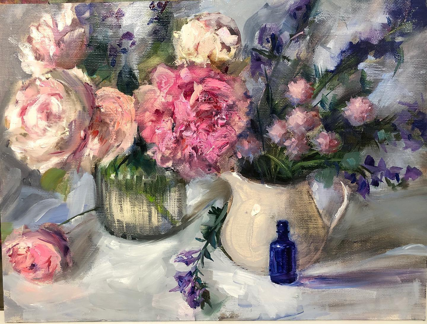 Peonies and a Perfume Bottle I