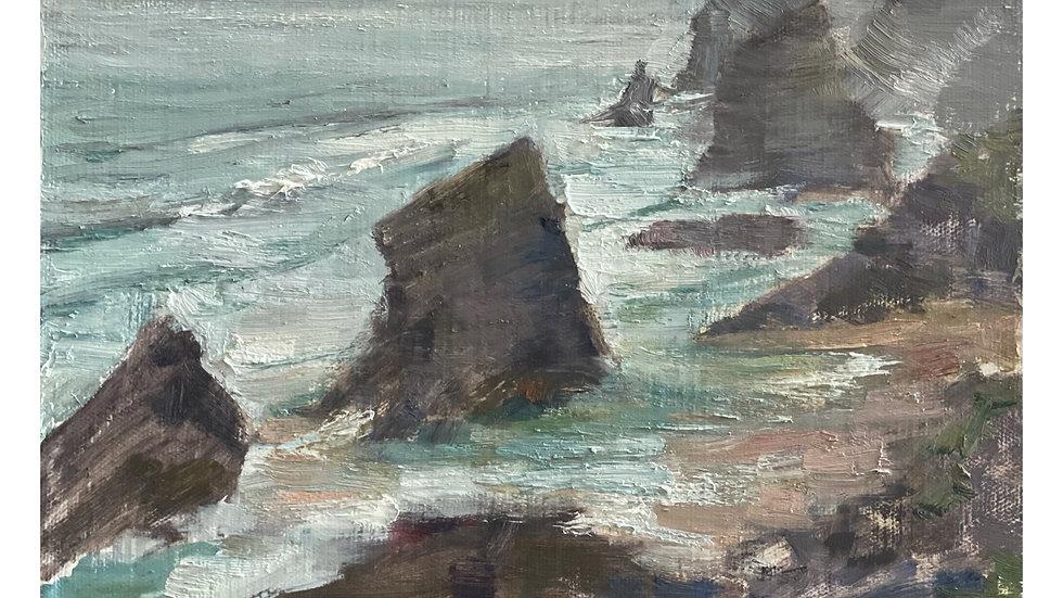Bedruthan Steps, Rain, Low Tide