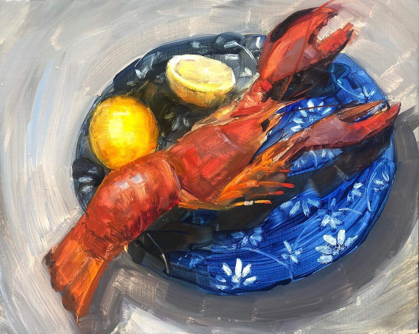Lobster on a Blue Plate