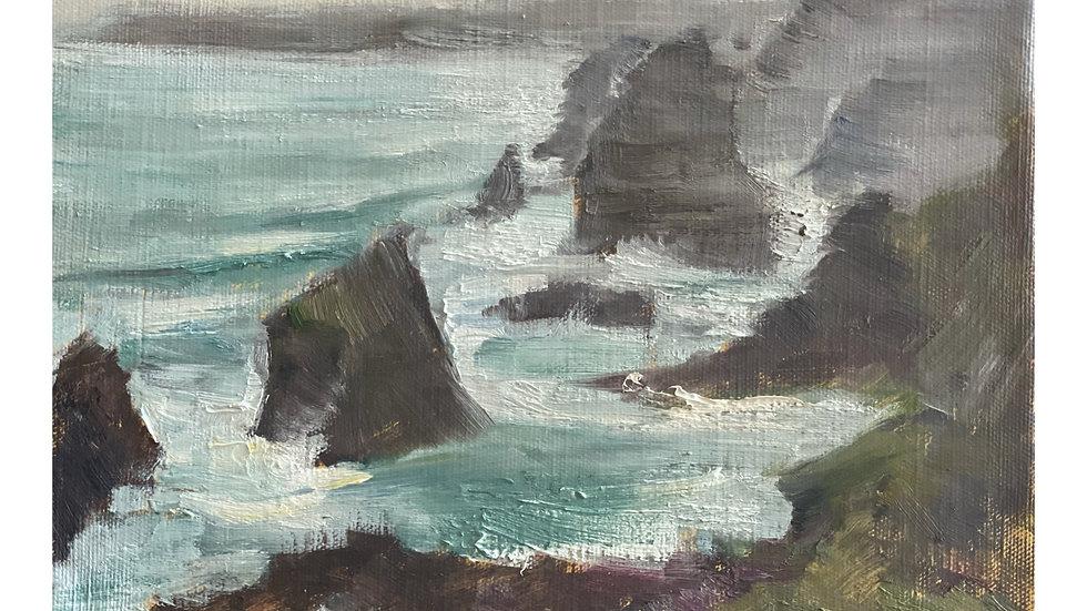 Bedruthan Steps, Rain, High Tide