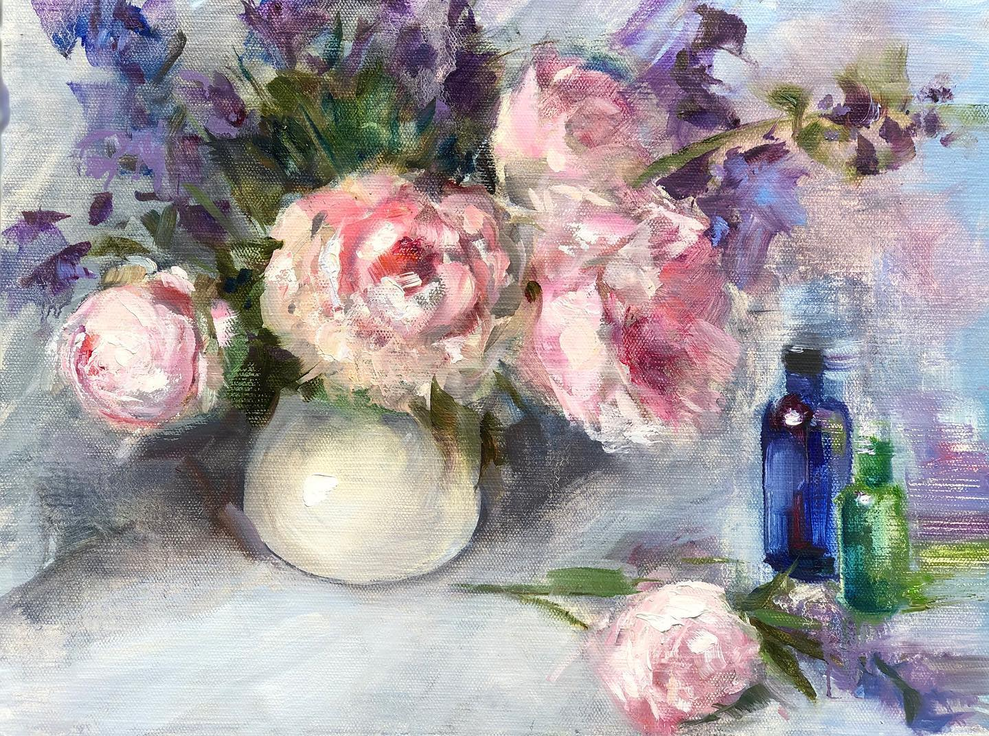 Peonies and a Perfume Bottles II