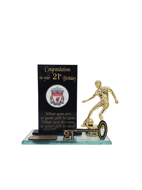 Custom Domed Branding Key Award with figurine