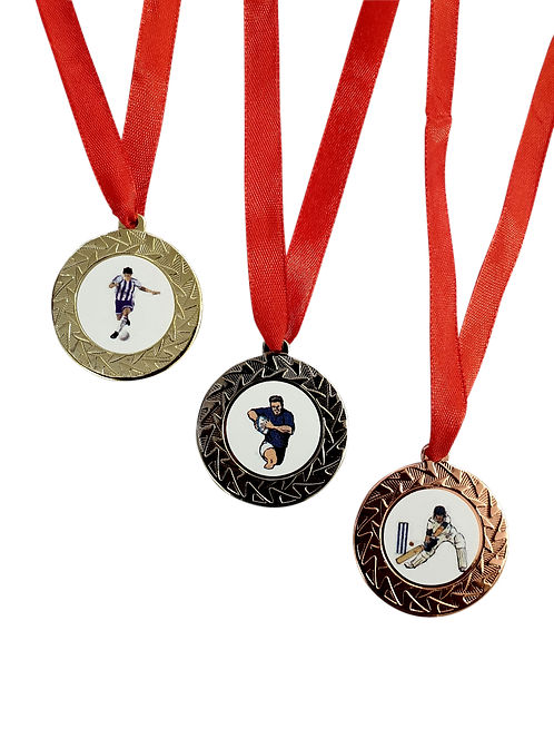 42mm Standard Medal with 10mm satin ribbon and insert sticker
