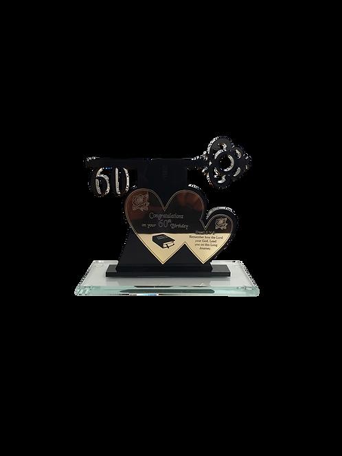 Custom Heart Key Award - Glass Base