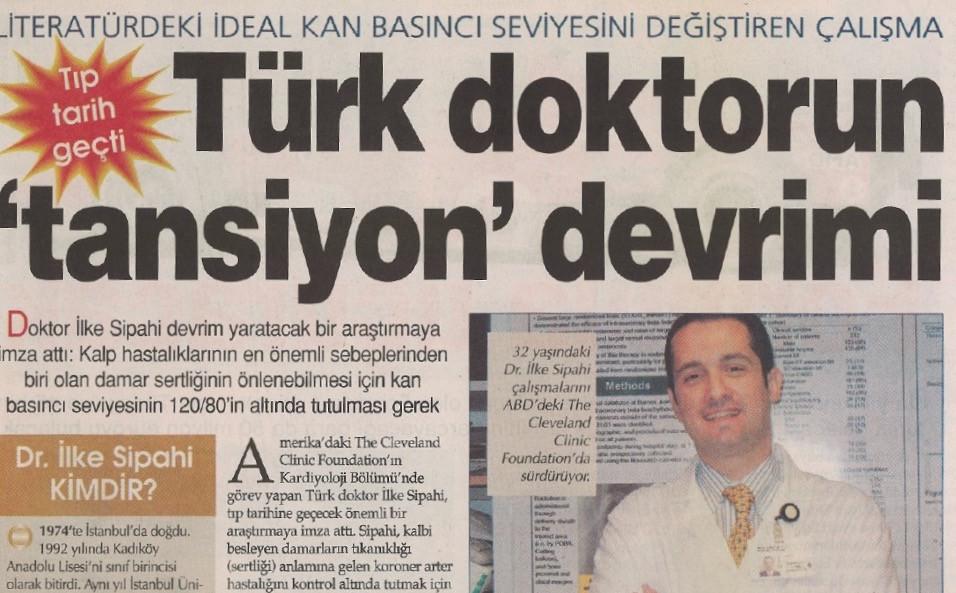 Hipertansiyonla ilgili araştırmamı kapsayan gazete haberi