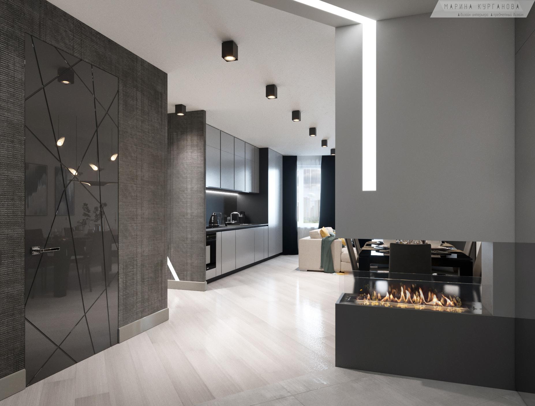 Вид из прихожей на кухню-гостиную