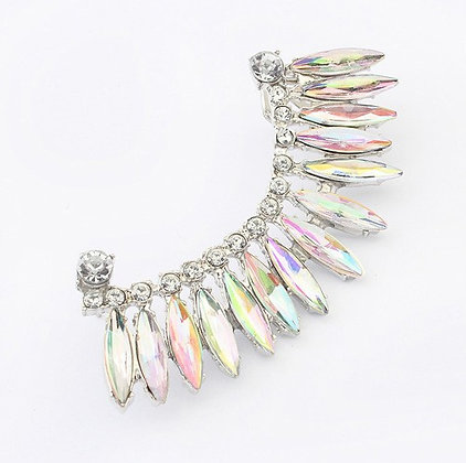 Wing iridescent rhinestone Clip-on Cuff