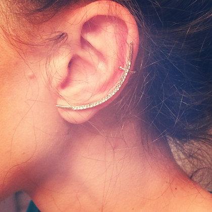 Crescent Moon rhinestone ear cuff set
