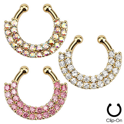 Gold Double line Rhinestone Faux Septum Clicker
