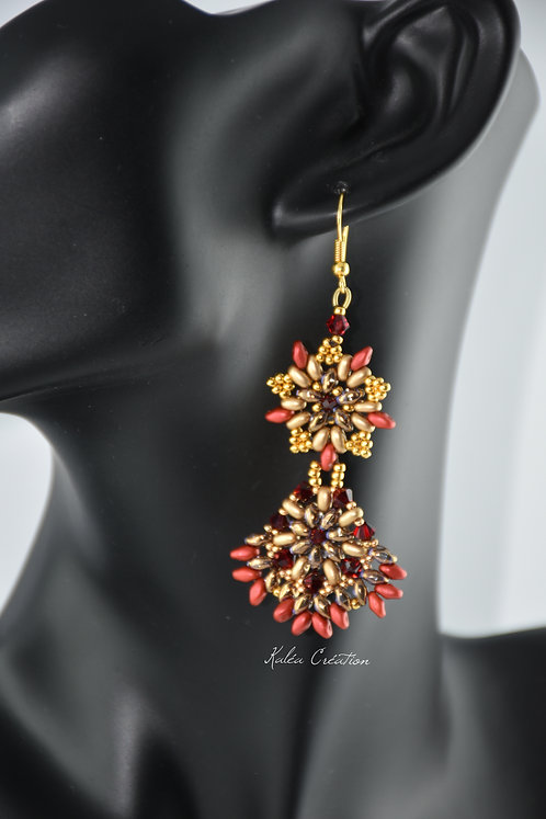"""Boucles d'oreilles """"Ludine"""" rouge et or"""