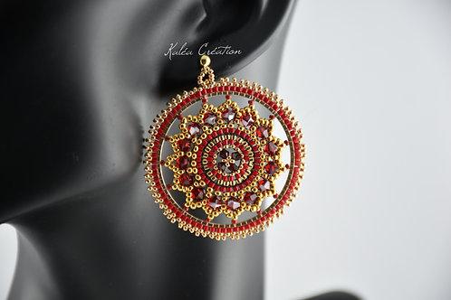 """Boucles d'oreilles """"Mandala étoile"""" rouge"""