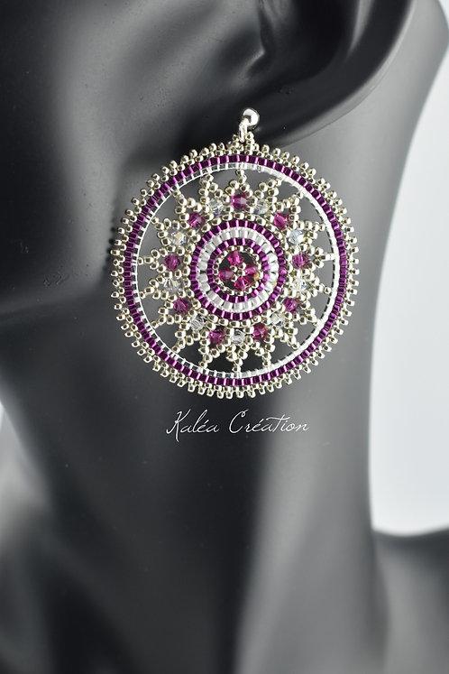 """Boucles d'oreilles """"Mandala étoile"""" violet"""