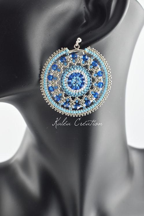 """Boucles d'oreilles """"Mandala Circle"""" Bleu"""