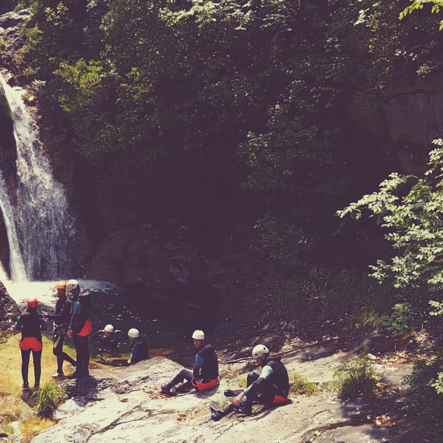 Relaxing during a canyoning trip from Th
