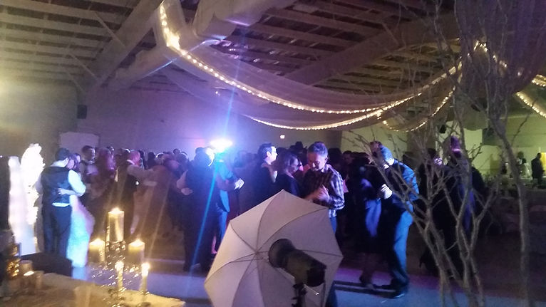 Wedding DJ package dancefloor is packed, bride and groom, guests are happy
