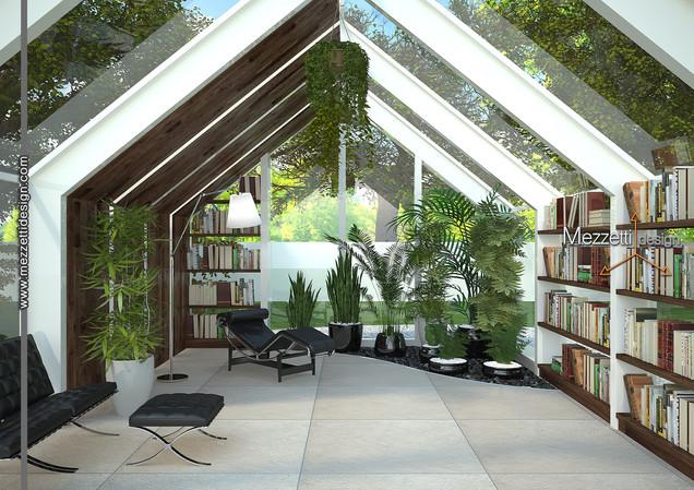 Progetto di un giardino d'inverno e sala lettura