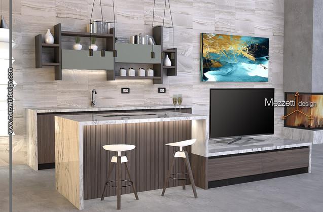 Progetto di una cucina con isola bar/tv