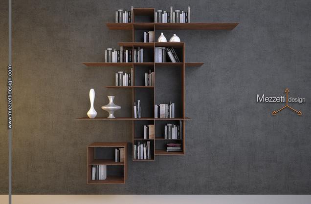 Progetto di una libreria pensile realizzata in lamine di corten