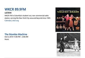 The Mambo Machine Fri Oct 4 on WKCR 89.9